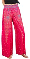 Boho Palazzo Wide Leg Side Slits Belly Gypsy Hippie Harem Pants Trousers Peacock Pink