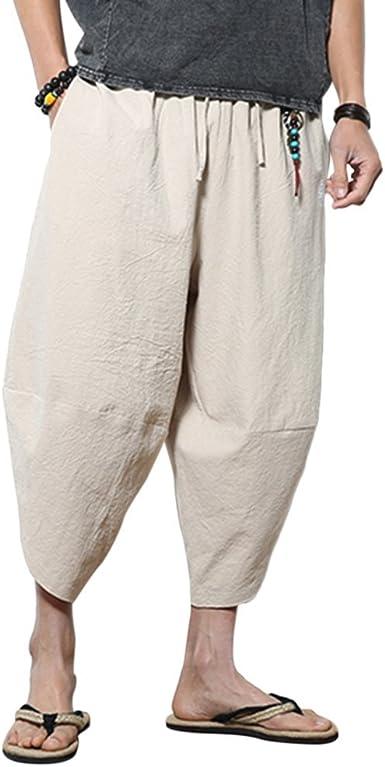 Zhuhaitf Loose Harem Aladdin Pantalones Bombachos Hombre Mujer Verano Lino Hippie Pantalones Casual Wide Leg Yoga Pantalones Amazon Es Ropa Y Accesorios