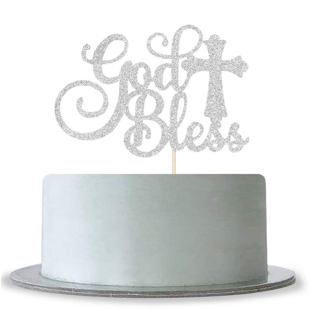 God Bless Cake Topper Silver Glitter First Communion Decorations Bless This Child WeBenison