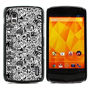 Graphic4You Comics Black And White Design Hard Case Cover for LG Nexus 4