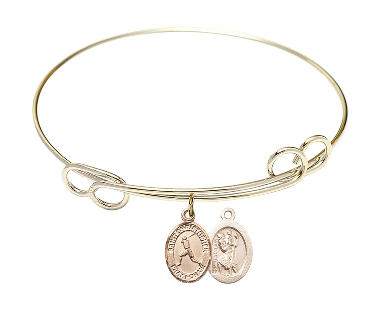 7 1/2 inch Round Double Loop Bangle Bracelet w/St. Christopher/Baseball in Gold-Filled