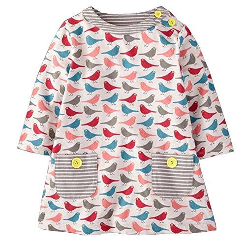 Cute Baby Girl Colorful Bird Print Spring Cotton long Sleeve Winter Dress Shirt - Birds Print