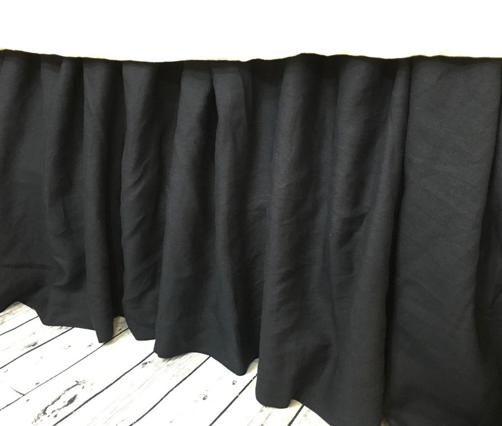Image of Black Linen bed skirt, Gathered Bed Skirt, Available in Twin, Full, Queen, King, Calif. King, 13-24 drop or custom length, HANDMADE, FREE SHIPPING Home and Kitchen