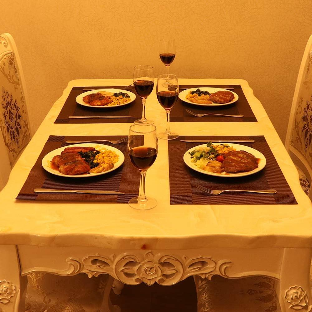 R/ésistant /à la Chaleur en PVC Lavables Cuisine Tiss/é Tapis de Table//Coaster//Chemin de Table 30 * 45 cm(Brun) Salle /à Manger Anti Usure Tinyuet 6Pcs PVC Sets de Table