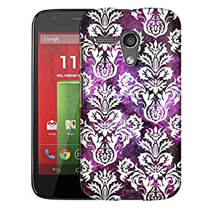 Motorola Moto G Case, Slim Fit Snap On Cover by Trek Damasks Floral White on Nebula Trans Case