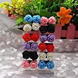 Sumanee Cheap Acrylic Resin Rose Flower Ear Stud 12 Pairs Mixed Color Nickel Earring