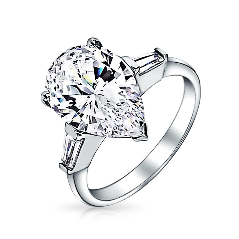 .925 Silver Classic Pear Baguette CZ Engagement Ring