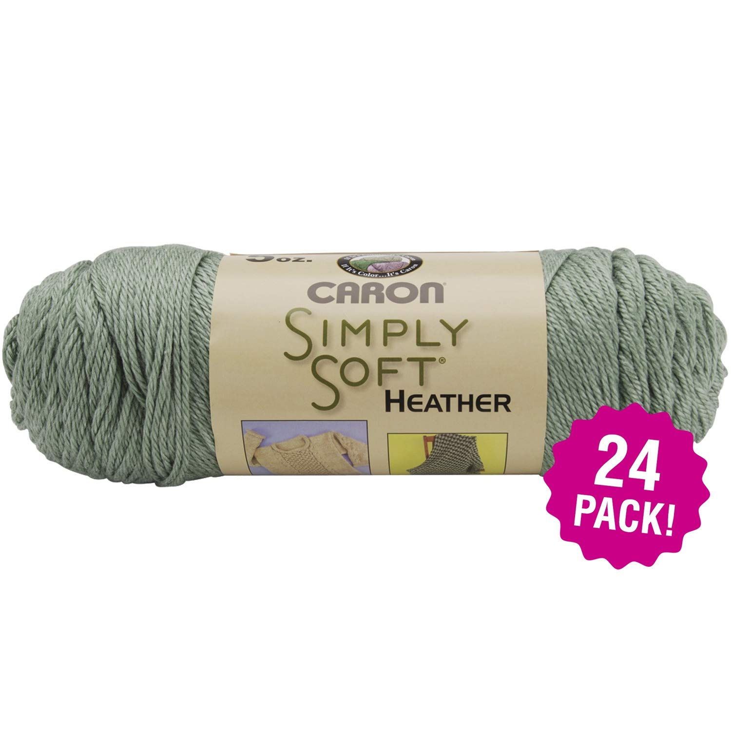 Caron 98075 Simply Soft Heather Yarn-Woodland, Multipack of 24, Wooland Pack