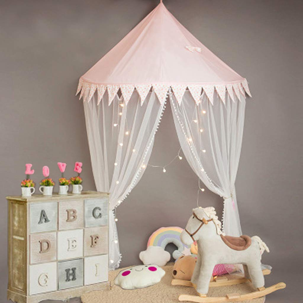Princess Bed Canopy for Children, Toddler Bed Mosquito Net Crib Gauze Curtain Tent Half-Round Dome Reading Corner Tent Room Decor, Pink