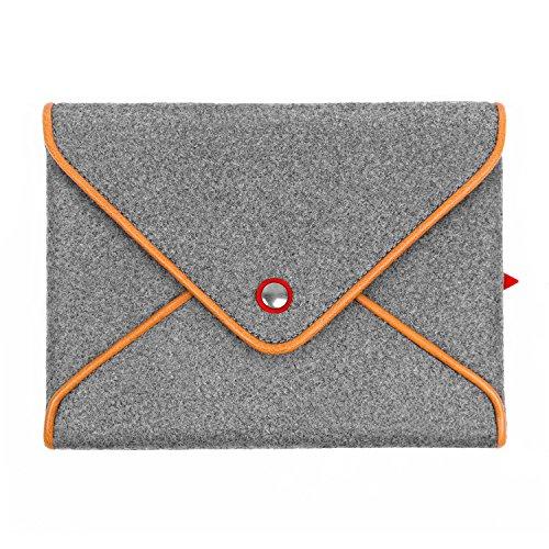 TOPHOME Wool Felt Bag Grey Pouch Cover Button Genuine Leather Edge for Apple iPad Air 1 iPad Air 2 iPad 2 3 4 - Wool Felt Pouch