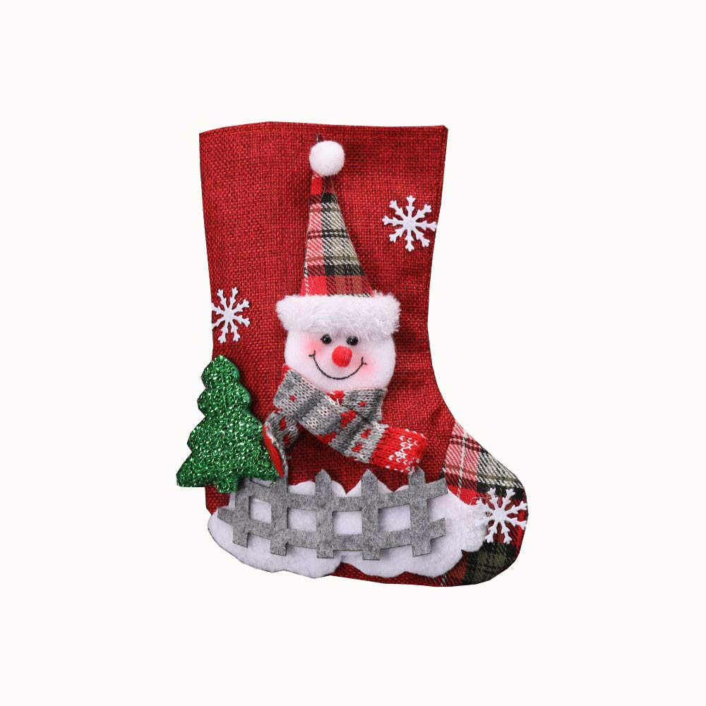 Christmas Stockings Straron Decorations Lovely Xmas Stockings Christmas Tree Ornaments Santa Claus Elk Snowman Candy Gift Bags Christmas Stockings Holders (Snowman)