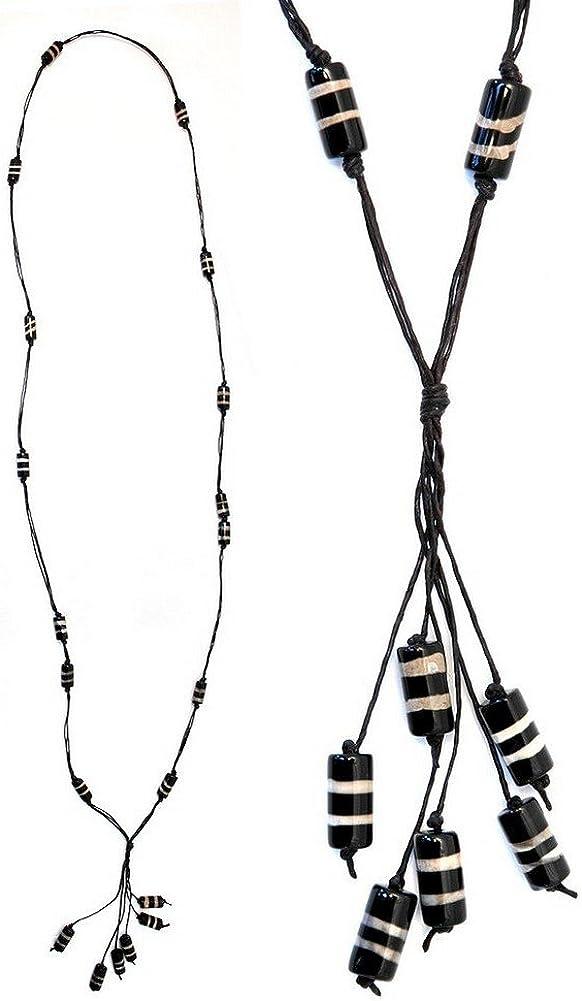 Largo collar de perlas de 15mm tubo 6borla de 138cm con Piedra por Joe Cool
