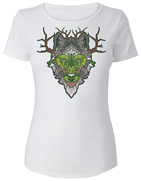 a71b9f73fc5d8 Finest Prints Beautiful Portrait of Wolf with Nature Elements Camiseta para  Mujer  Amazon.es  Ropa y accesorios