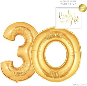 Andaz Press Giant Gold Helium Foil Balloon Party Kit with Sign, Jumbo 40-inch, Number 30, Metallic Gold Shiny Mylar, 1-Pack, Includes Free Party Sign!, 30th Birthday Anniversary Party Decorations