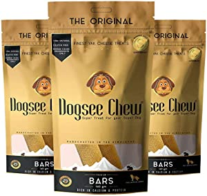 Dogsee Chew Dog Dental Chews - Long Lasting Dog Chews for Medium Dogs - Yak Cheese Flavored Himalayan Dog Chew That Will Lower The Chances of Plaque and Tartar Growth - 2 Bars Per Pack - Pack of 3