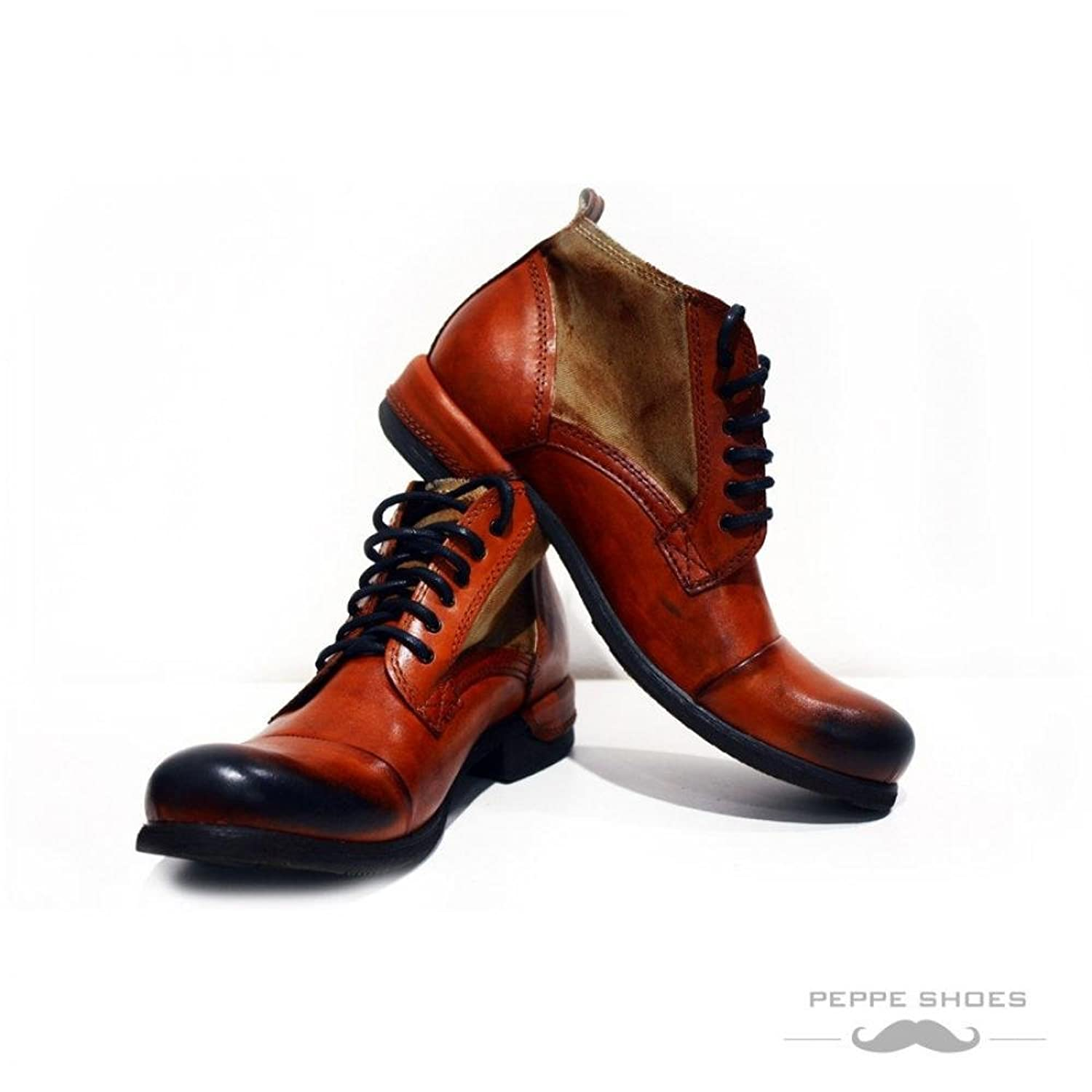 Modello Genua - Handmade Colorful Italian Leather Unique High Boots Lace Up Men's Shoes