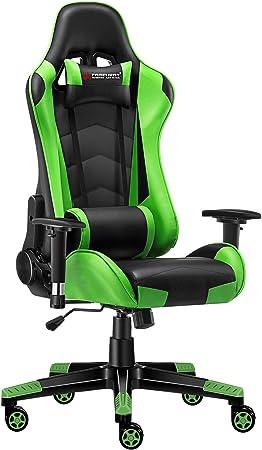 Jl Comfurni Gaming Chair Ergonomic Swivel Office Pc Desk Chair Computer Chairs Heavy Duty Reclining High Back With Lumbar Cushion Black Green Amazon Co Uk Kitchen Home