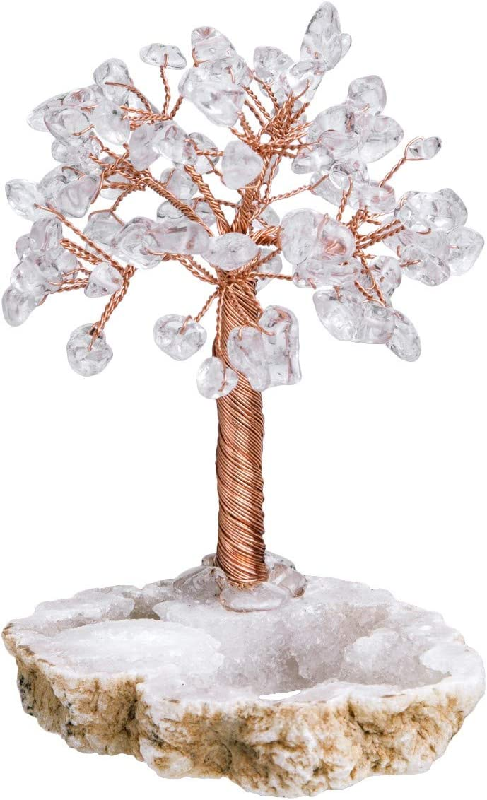 mookaitedecor - Árbol de Piedras Preciosas y Cristales curativos Naturales, Adorno de Feng Shui con Base de geoda de Cuarzo, Blanco