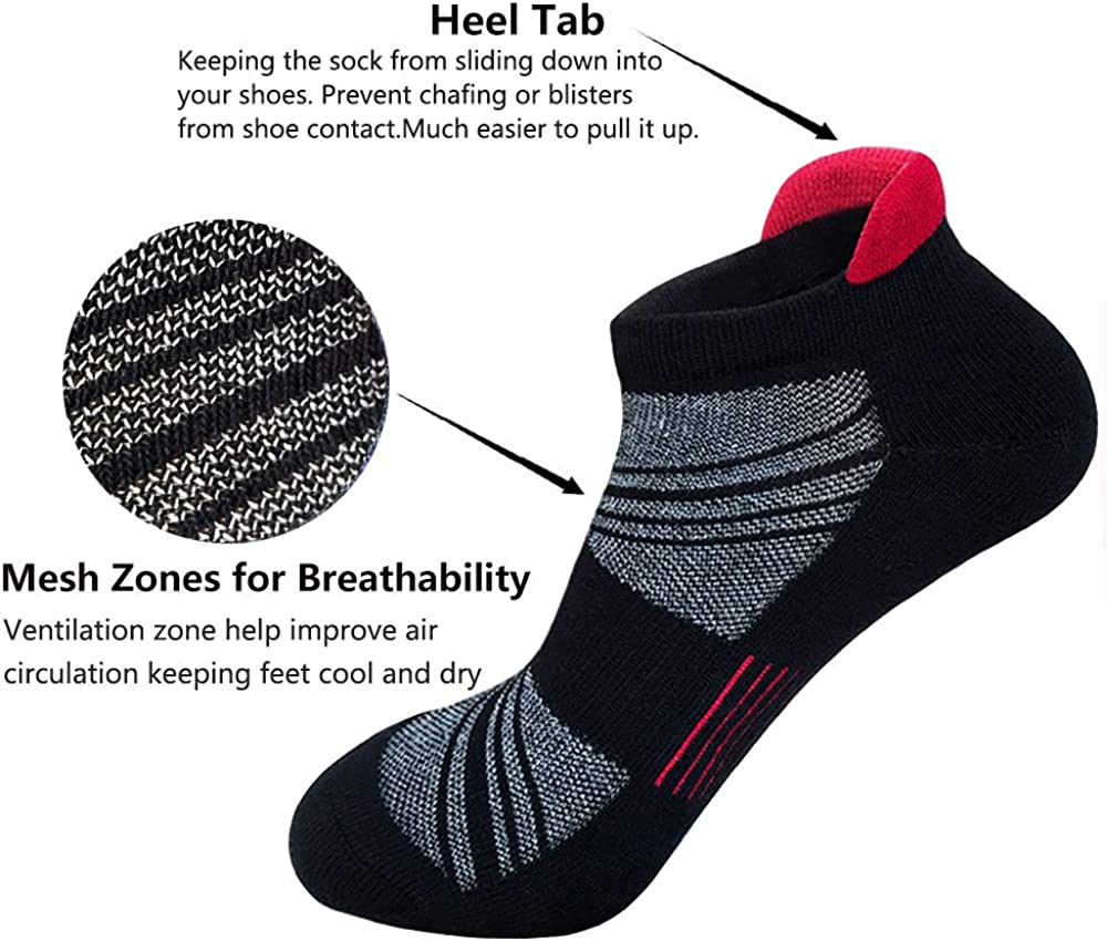 Mens Low Cut Ankle Athletic Socks Cushioned Breathable Running Performance Sport Tab cotton Socks(5 pack)