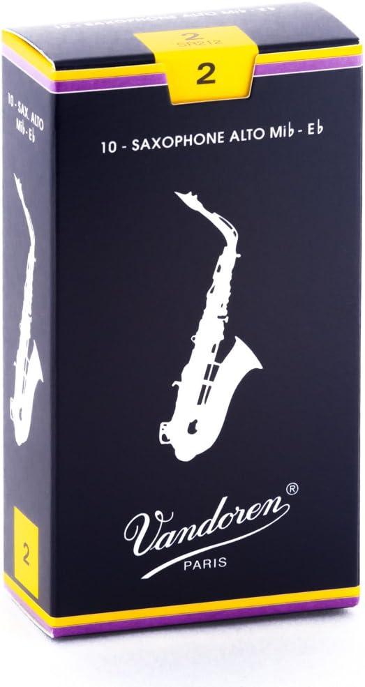 Vandoren SR212 - Caja de 10 cañas tradicional n.2 para saxofón alto