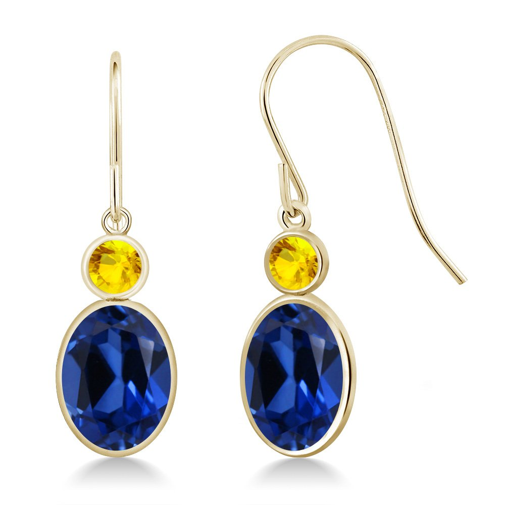 3.54 Ct Oval Blue Simulated Sapphire Yellow Sapphire 14K Yellow Gold Earrings
