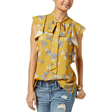 41193f5ffec33 RACHEL Rachel Roy Womens Floral Print Flutter Sleeves Blouse Gold M ...