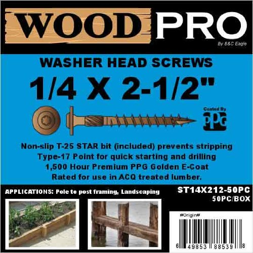 50-Pack WoodPro Fasteners ST14X212-50PC 1//4-Inch by 2-1//2-Inch Length Round Washer Head Exterior Wood Screws