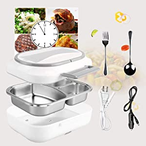 Electric Lunch Box - #HAPPY HALLOWEEN# Toursion Dual Use Car Home Office Portable Food Heater deluxe edition with Removable 304 Stainless Steel Container 110V&12V(Free Spoon & Fork)