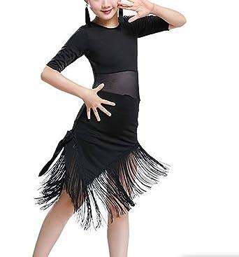 IEFIEL Vestido de Baile Latino para Niñas Traje de Latin Sevillana Tango Rumba Profesional Dsifraz Bailarina Fiesta Actuacion Empalme Vestido Flecos ...