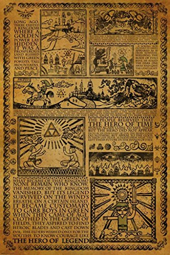 Pyramid America Zelda Story of The Hero Time Legend Mythology Timeline Video Game Gamer Poster 24x36 inch