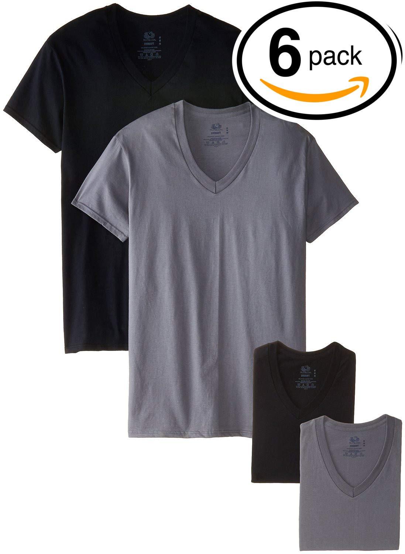 Fruit of the Loom Men's Tucked V-Neck T-Shirt (Black & Grey, XXX-Large)
