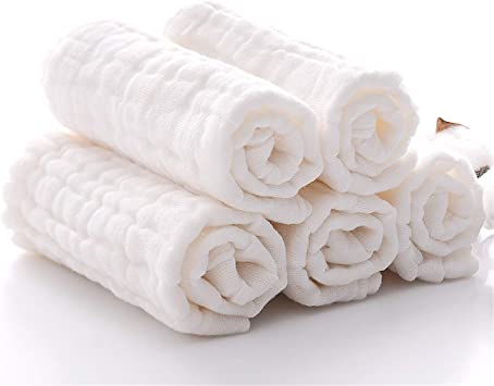 White 12x 12 reusable wipes BWINKA 6-pack muslin baby bath washcloth with Hook Baby Towels Best for Shower Gift