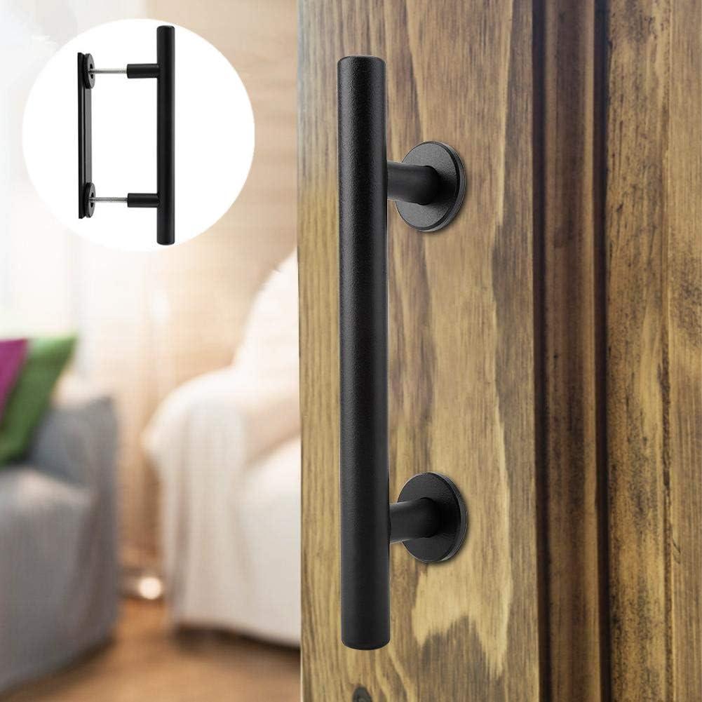Tirador de la puerta de granero de acero al carbono para trabajo pesado Juego de herrajes en la puerta negra con tornillos de montaje incluidos para puerta de madera