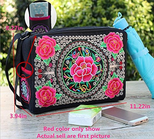 layer with 2 Chinese 3 red Floral Flower Girl Shoulder Embroidery bag Bag 2 Handbag Ethnic Handbag Layer Embroidered crossbaody for peacock Women Layers Desgin qHW5U0RO