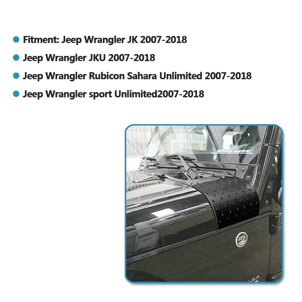 2Pcs ABS Cowl Body Armor Outer Cowl Covers Corner Guards Modification Outer Cowling Cover Protector for Jeep Wrangler JK Rubicon Sport Unlimited 2007-2018