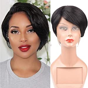 Human Hair Lace Front Short Straight Hair Wigs 100% Unprocessed Brazilian Virgin Hair Wigs Nature Color