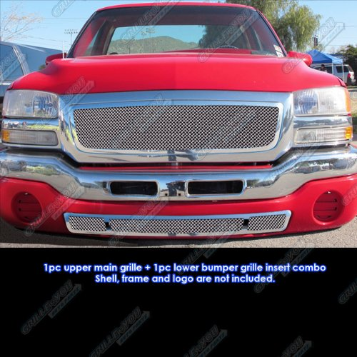 APS Compatible with 2003-2006 GMC Sierra 1500 2500 Stainless Steel Mesh Grille Grill Combo Insert G71041T
