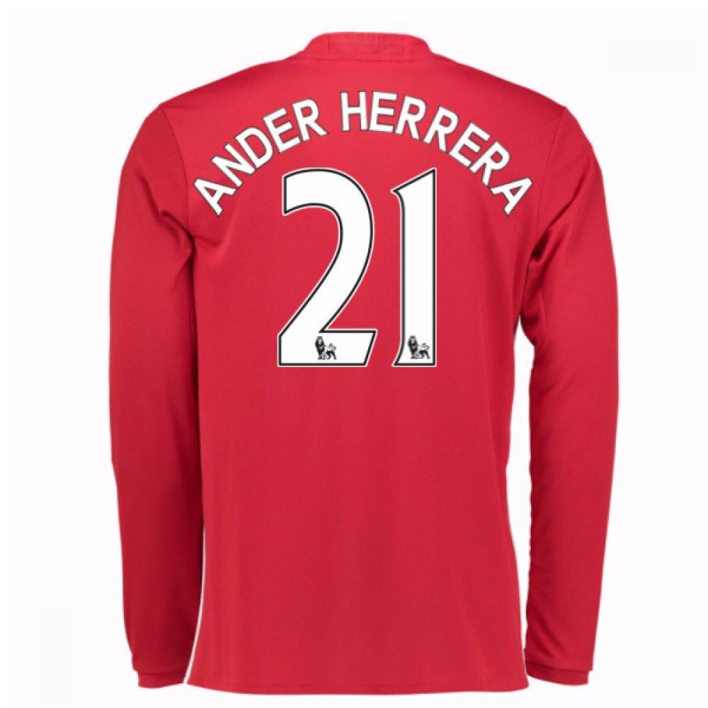 2016-17 Man United Home Long Sleeve Football Soccer T-Shirt Trikot (Ander Herrera 21)