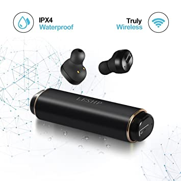 Auriculares Mini Bluetooth 4.2, LESHP Auriculares Inalambricos Deportivo Impermeable IPX4 con Caja de Carga, Compatible con iPhone Samsung Huawei y Android ...