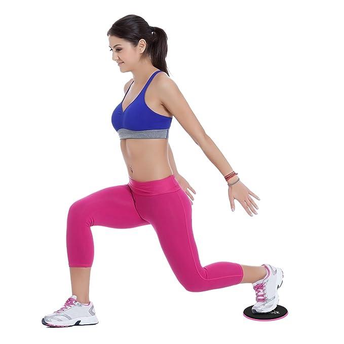 CampTeck 2x Discos Deslizantes Doble Cara Disco Abdominales para Abs Entrenamiento, Hogar, Yoga, Fitness, Pilates, Ejercicios de Cuerpo - Para Uso en ...