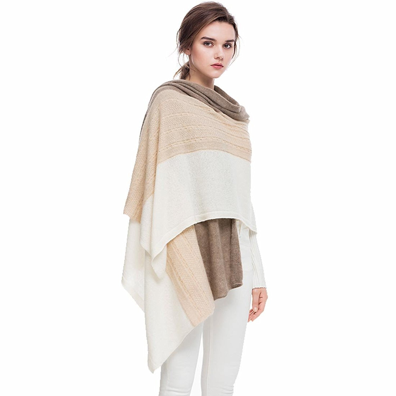 Fincati Women Scarves 100% Goat Cashmere Winter Wrap Pashmina 65''x30'' New Contrast Color Twist Knit Shawl by FINCATI