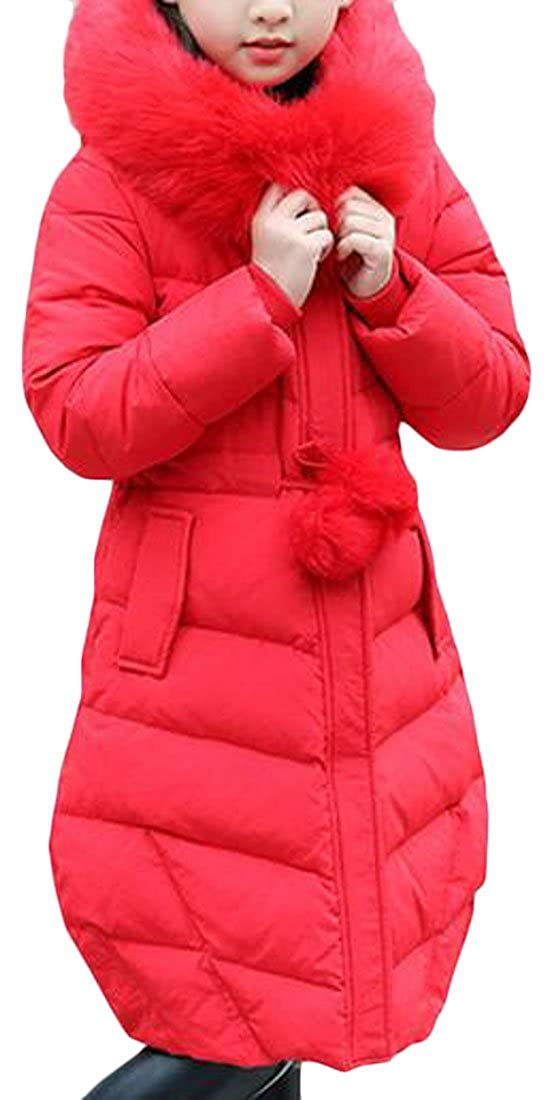 Sweatwater Big Girls' Winter Puffer Faux Fur Hood Long Thick Parka Jackets