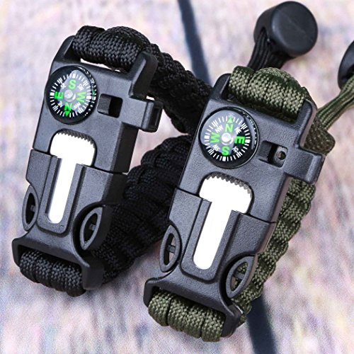 Survival Bracelet Paracord Military Bracelet Buckle Tool Adjustable Rope Accessories Kit, Fire Starter, Knife, Compass, Whistle,For Fishing Gear Supplies, Hiking Travel Camp( 2pcs), (black,green)