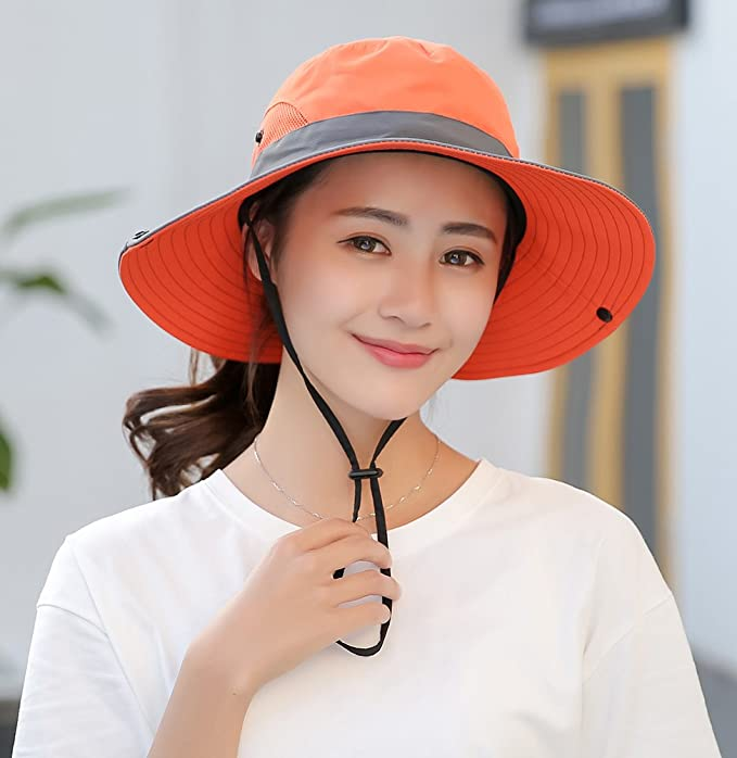 BOGIWELL Women s Outdoor UV Protection Foldable Mesh Wide Brim Beach  Fishing Hat Orange at Amazon Women s Clothing store  4d896f4805cc