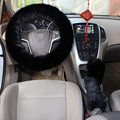 Forala 1 Set 3 Pcs Car Steering Wheel Cover & Handbrake Cover & Gear Shift Cover Set & Seat Belt Shoulder Pads Faux Wool Warm Winter: Automotive