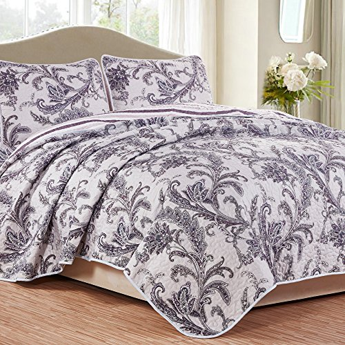 NTBAY 3 Pieces Reversible Coverlet Set Floral Printed Quilt Sets(Queen, Silver)