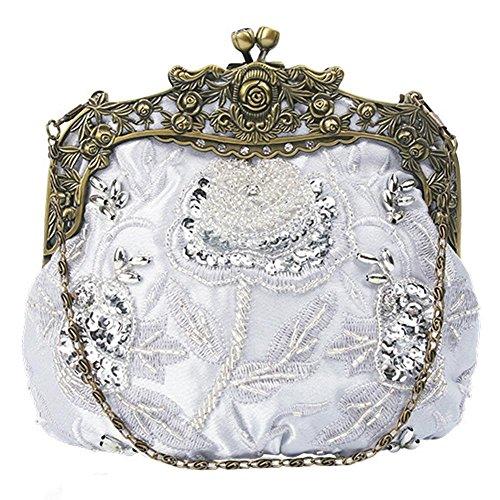 de embrayage cm floral soirée silver dîner perlé party x sac sequin antique 16 sacs femmes 18 xX56wZFqzc