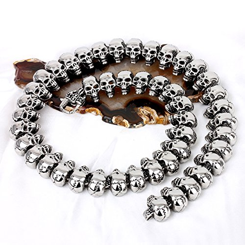 COPAUL Jewelry Men's Stainless Steel Silver Color Skull Style Necklace
