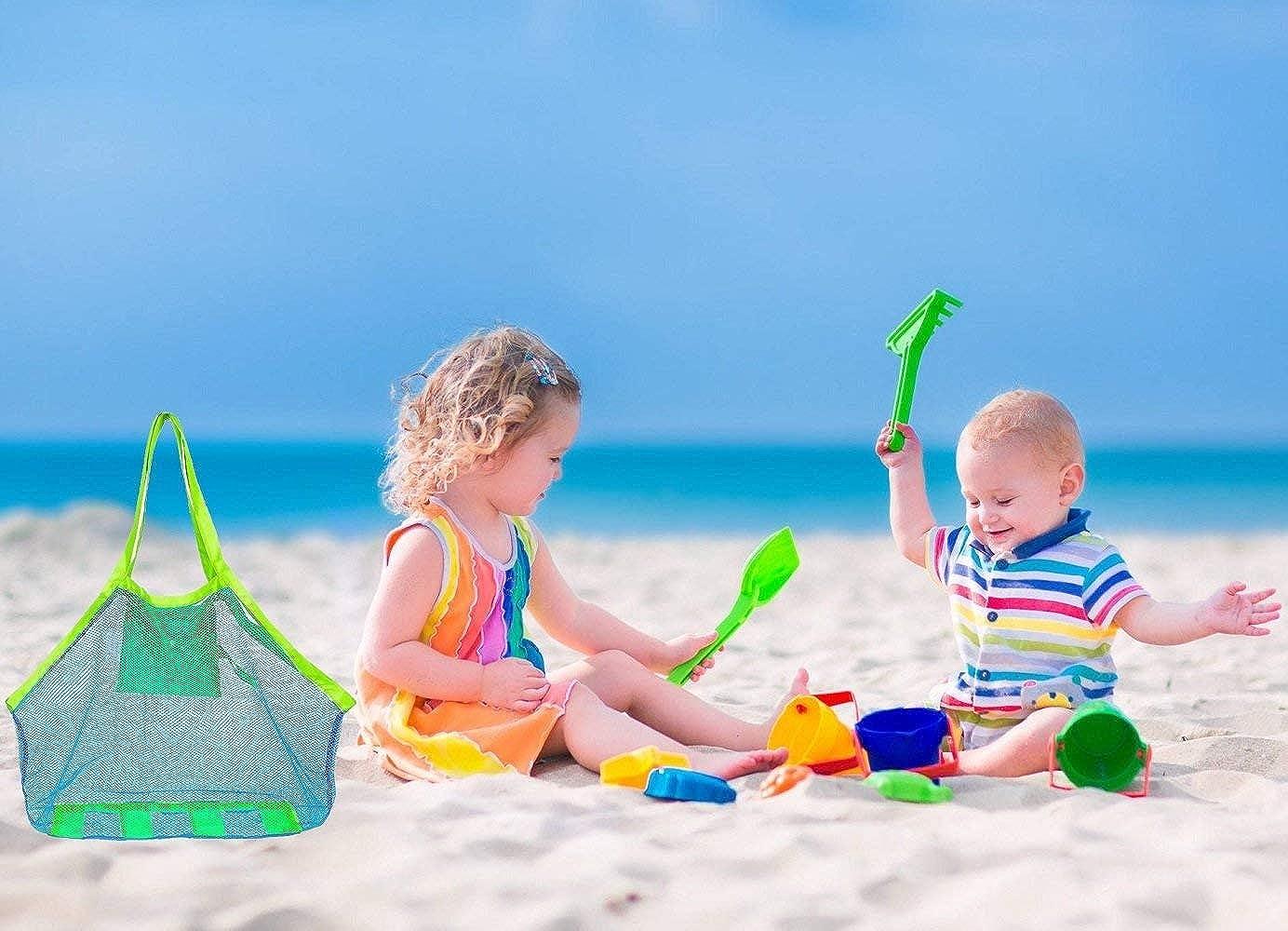 COOLGOEU Grande Bolsa de Playa de Malla Organizador de Bolso Tote Plegable para Ni/ños D/ía de la Familia