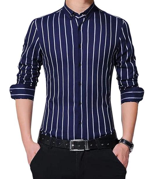 5051dcdc47a6 XiaoTianXinMen XTX Mens Formal Button Up Striped Basic Linen Fleece Dress  Shirts Dark Blue XXS